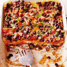 Black Bean Lasagna: Deliciously decked out, our fabulous black bean casserole is the perfect excuse to throw a fiesta. The vegetarian lasagna is baked with layers of garlicky noodles, crisp veggies, and lush cream cheese. Vegetarian Casserole, Vegetable Casserole, Casserole Recipes, Bean Casserole, Lasagna Casserole, Veggie Recipes, Mexican Food Recipes, Vegetarian Recipes, Cooking Recipes