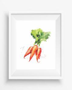 Carrots,Watercolor Carrots print,digital prints,Kitchen Decor,Culinary Print,farm decor