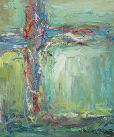 Amazing fluid textured abstract oil painting.