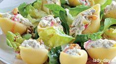 «Ракушки», фаршированные сыром и орехами