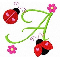 Ladybug Letters - 4x4 | Featured Products | Machine Embroidery Designs | SWAKembroidery.com