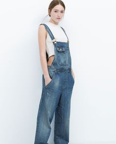 Image 2 of WIDE-LEG DUNGAREES from Zara