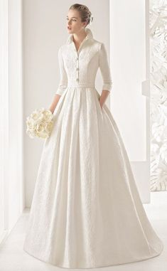 Rosa Clara 2017 Wedding Dresses with Greek Goddess Glamour Classic tailored three-quarter-sleeve silk brocade dress with open button collar and pleated skirt, in natural. Rosa Clara Wedding Dresses, Modest Wedding Dresses, Bridal Dresses, Wedding Dress Pockets, Long Sleeved Wedding Dresses, Winter Wedding Dresses, Wedding Dress Collar, Bridesmaid Dresses, Dress Winter