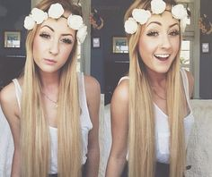 Long blonde hair with a floral crown #prettyhair #floral