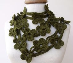 Double Dark Olive Green Bloom Scarf-Ready For by knittingshop