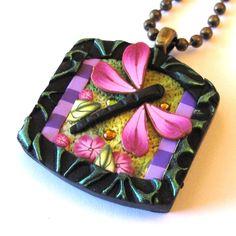 ClaybyKim Dragonfly Garden Necklace in Pink. $14.00, via Etsy.