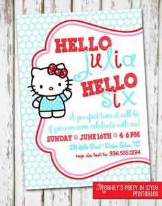 Hello Kitty Invitation by Meghilys on Etsy, $10.00