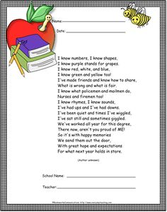 Preschool/Kindergarten Poem Certificates: how fun would these be for the end of the year? Preschool Graduation Songs, Kindergarten Graduation, Kindergarten Poems, Kindergarten Classroom, Poems About School, School Poems, Pre K Graduation, Graduation Ideas, Pre K Pages
