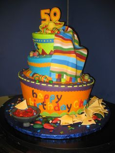 Fiesta cake Makes me want to eat Mexican food every time I look at it. Mexican Themed Cakes, Mexican Fiesta Cake, Mexican Party, Mexican Cakes, Mexican Birthday Parties, Party Fiesta, Novelty Cakes, Occasion Cakes, Cake Creations