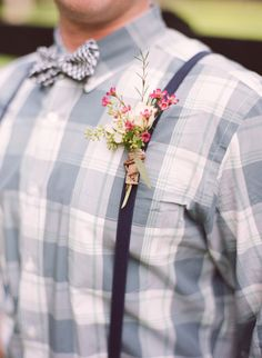 pretty boutonniere with suspenders