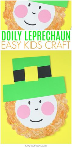 This doily leprechaun craft for kids might be the cutest St Patricks day craft I've seen this year? Easy to make and only costing pennies in supplies too! Cute idea for speech therapy! March Crafts, St Patrick's Day Crafts, Daycare Crafts, Toddler Crafts, Preschool Crafts, Holiday Crafts, Fun Crafts, Arts And Crafts, Spring Crafts