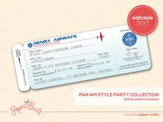 Printable Airplane Birthday Party Airline Ticket by PaperBuiltShop, $15.00