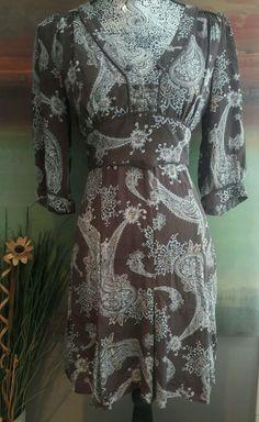 MANGO MNG 100% SILK PAISLEY DRESS SHEATH PAISLEY BOHEMIAN 3/4 SLEEVE V NECK BOHO…