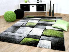 Wohnzimmer teppich modern grau grün mit konturenschnitt malmo