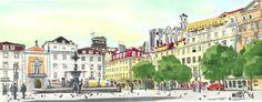 Praça do Rossio em Lisboa - Aguarelas // Rossio Square in Lisbon - Watercolors