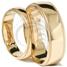 Stunning Matching High Polished Milgrain His Her Wedding Band Set 14K Yellow Gold HH19-14G-W