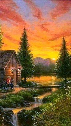 Paysage - New Tutorial and Ideas Fantasy Landscape, Landscape Art, Landscape Paintings, Pictures To Paint, Nature Pictures, Beautiful Pictures, Beautiful Paintings, Beautiful Landscapes, Kinkade Paintings