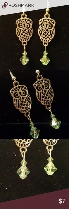 Handmade Owl Earrings Owl Earrings featuring green Swarovski crystals. Handmade. Super cute! Jewelry Earrings