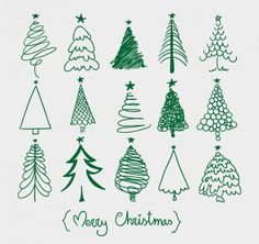 This free set of vector icons offers green Christmas trees in various hand drawn styles.
