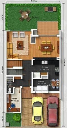 Pinterest: @claudiagabg Town house 3 pisos con terraza 3 cuartos 2 estudios / planta 1
