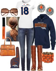 """""""Broncos Fashion with Peyton Manning #18 Top"""" by joslynpriddy on Polyvore"""