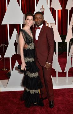Pin for Later: David Oyelowo and Michael Keaton Had a Full-On Oscars Bromance  David also hit the red carpet with his wife, Jessica Oyelowo.