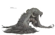 wing-ed creature - I like how it looks like two creatures Dark Fantasy, Fantasy Art, Dark Creatures, Mythical Creatures, Monster Design, Monster Art, Creature Feature, Creature Design, Creature Drawings