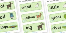 The Three Billy Goats Gruff Word Cards - Three Billy Goats
