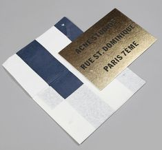 acne card, envelope, gold