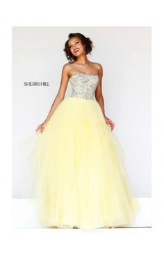2014 Beaded Plunging Neck Gown by Sherri Hill 11085 YellowOutlet