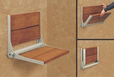 Get a more relaxing shower without needing more space. A fold down shower seat (this one is shown with Brazilian Walnut) is just 1 of 7 strategies featured in this article. Click through to learn the other 6.