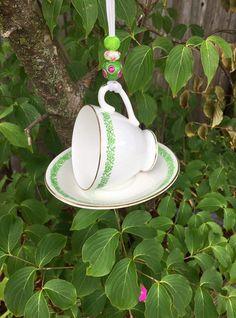 White Green Tea Cup Bird Feeder, Garden Decoration, Kitchen Decor, Upcycled Vintage, Trinket Ring Dish, Potpourri Holder, Bridal Tea Party