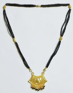 Black Beaded Mangalsutra with Gold Plated Pendant (Beads and Metal))