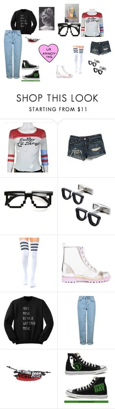 """""""Girls Who """"Read Comics"""" vs Girls Who Read Comics"""" by just-another-dweeb ❤ liked on Polyvore featuring rag & bone/JEAN, ZeroUV, Cufflinks, Inc., Stance, Sophia Webster, Topshop, Hot Topic, Converse, annoying and Nerdy"""