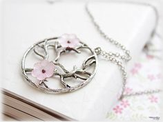Cherry blossoms tree of life pink lucite floral woodland vintage victorian style jewelry. $10.00, via Etsy.