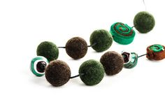 Woodland Necklace Forest Green and Brown Felted by DevikaFelt, €32.00