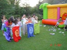 Bounce house and other fun games. Kids Party Games, Games For Kids, Fun Games, Picnic Games, Daycare Organization, Outside Games, Festa Toy Story, Carnival Games, Party Packs