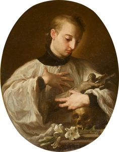 Aloysius Gonzaga (second version). Pompeo Batoni.    Painting - oil on canvas.  Height: 80 cm (31.5 in.), Width: 60 cm (23.62 in.)