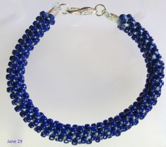 Beaded Ancient Japanese Kumihimo Weave Braided Dark Navy Blue Bracelet with Lobster Claw Clasp on Etsy, $32.00