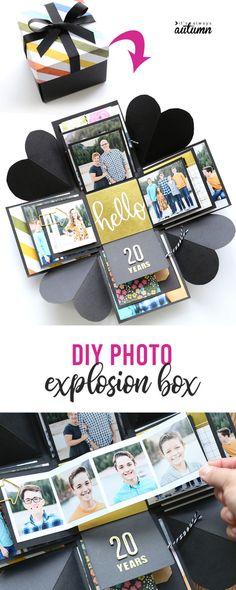 How to make an Explosion Box {cheap, unique DIY gift idea!} - It's Always Autumn presents handmade gifts How to make an Explosion Box {cheap, unique DIY gift idea!} - It's Always Autumn Foto Gift, Diy Birthday, Birthday Gifts, Diy Exploding Box, Diy Tumblr, Picture Gifts, Diy Gift Box, Homemade Gift Boxes, Ideias Diy