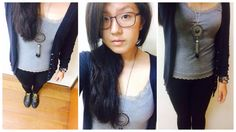 #mystyle today i go tights and cardigan with my hipster glasses c: