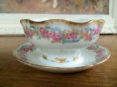Antique Haviland Limoges France DOUBLE Gold GRAVY BOAT Mayo Bowl Roses GDA 450 #HavilandDoubleGold