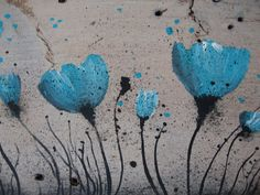 Barn Board Art Turquoise Blue Poppies by AntonMurals on Etsy,