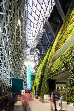 """Seoul New City Hall by iArc Architects / Seoul, South Korea. Love the """"green"""" wall. Green Architecture, Futuristic Architecture, Sustainable Architecture, Beautiful Architecture, Sustainable Design, Landscape Architecture, Architecture Design, Habitat Collectif, Amazing Buildings"""