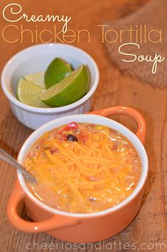 Creamy Chicken Tortilla Soup;  the perfect amount of yummy chicken, vegetables, and great flavor with a creamy broth. The broth is just righ...