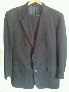 Brooks Brothers Makers Brooksease Black Pinstripe 2pc Suit Jacket Pants size 42L #BrooksBrothers #TwoButton
