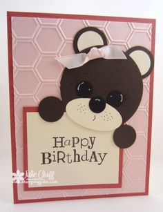 punch art birthday bear card