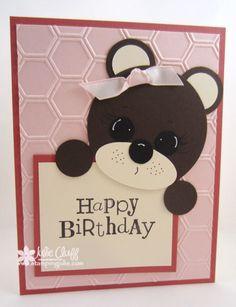 handmade punch art birthday bear card