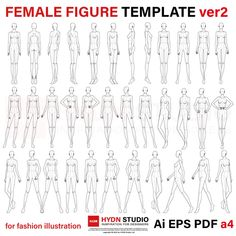 Female Figure Template for Fashion Illustration head/ 47 poses)Fashion Figure Pose Template ~ Set These templates can be printed out and used for hand drawn flats using tracing paper Fashion Illustration Techniques, Fashion Illustration Poses, Fashion Illustration Template, Illustration Mode, Medical Illustration, Pattern Illustration, Character Illustration, Fashion Model Sketch, Fashion Design Sketchbook