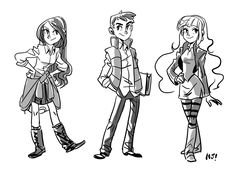 Slightly older Mabel, Dipper and Pacifica.